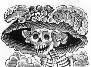 LA CATRINA, DEL INGENIO DE GUADALUPE POSADA, GRAN GRABADOR MEXICANO.